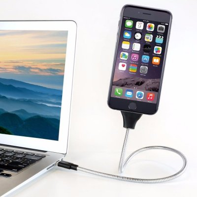 USB cable in bendable metal 60cm (Apple/MicroUSB/USB-C)