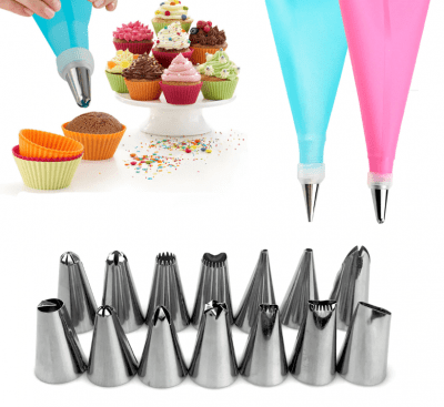 Piping bag with 14 nozzles
