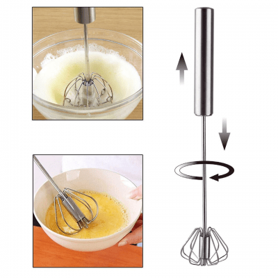 Automatic egg whisk in stainless steel