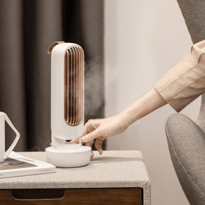 Stylish fan with built-in humidifier